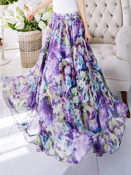Purple Chiffon Beach Maxi Skirt