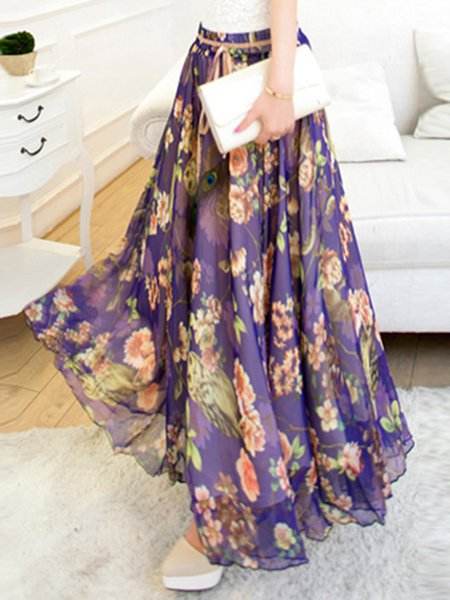 Purple Floral Beach Maxi Skirt