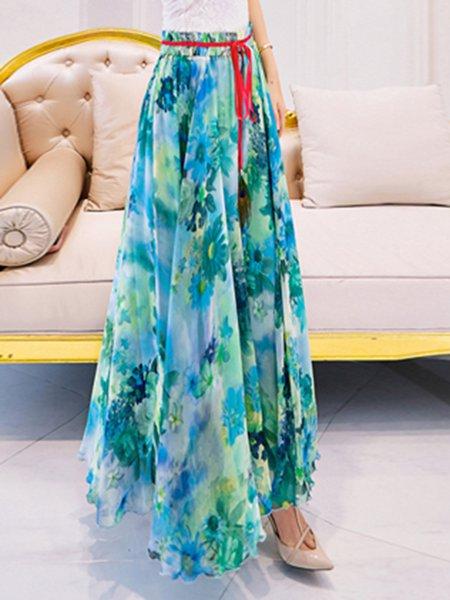Blue Chiffon Floral Beach Floral-print Maxi Skirt