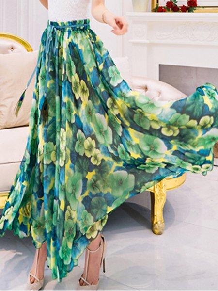 Green Floral Chiffon Beach A-line Maxi Skirt