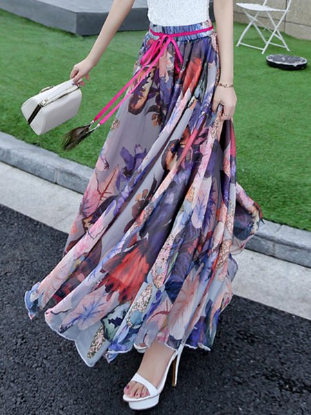 Purple Chiffon A-line Beach Floral Maxi Skirt