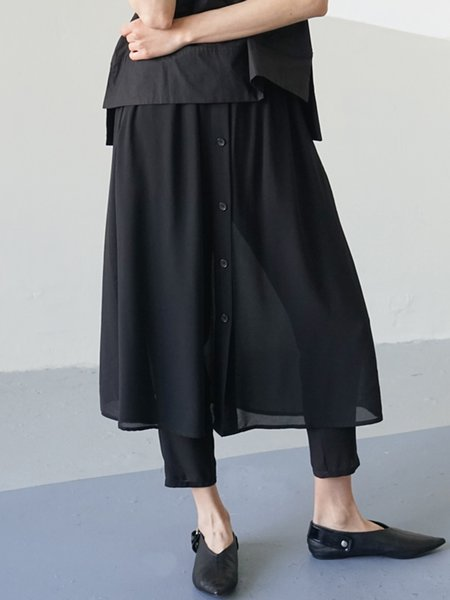 Black Simple Buttoned Midi Skirt