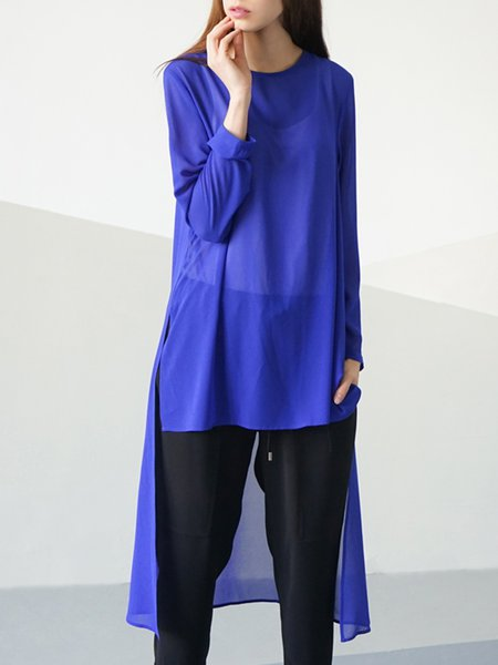 Blue Plain Long Sleeve Crew Neck H-line Tunic