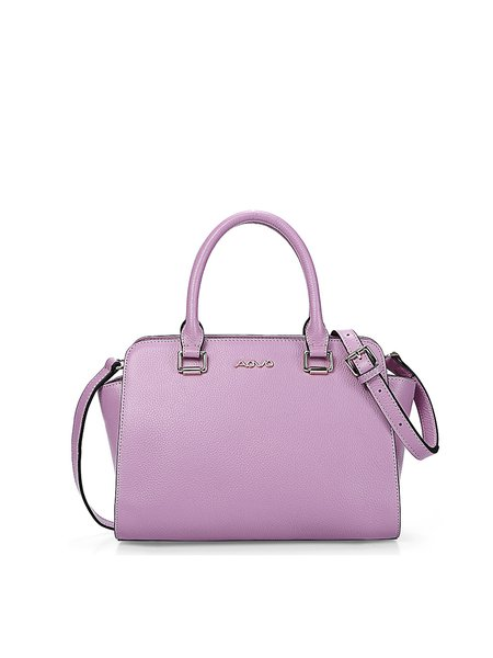 Purple Simple Zipper Cowhide Leather Satchel