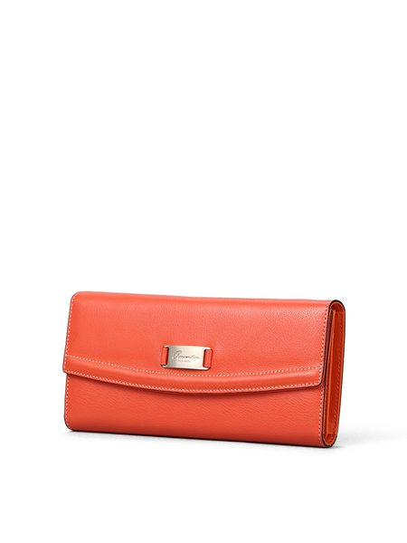 Orange Casual Fold-over Flat Top Wallet