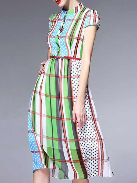 Multicolor Polyester Short Sleeve Stand Collar Midi Dress