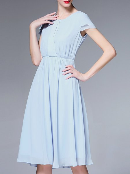 Polyester Gathered Crew Neck Short Sleeve Simple Midi Dress