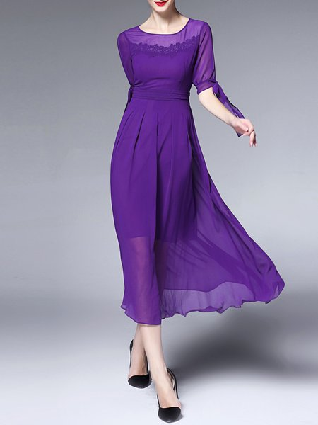 Purple Half Sleeve A-line Polyester Midi Dress