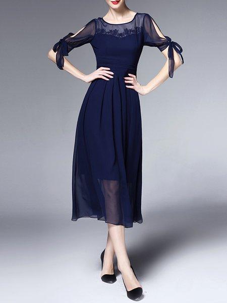 Dark Blue Half Sleeve A-line Polyester Midi Dress