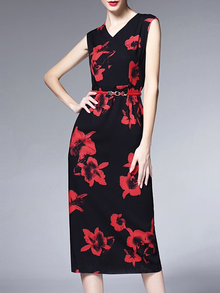 Black Elegant V Neck Painted Midi Dress