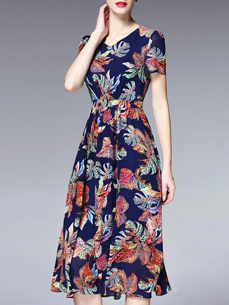 Vintage Short Sleeve Printed Midi Dress