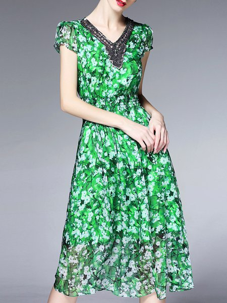 Green Printed Short Sleeve Midi Dress