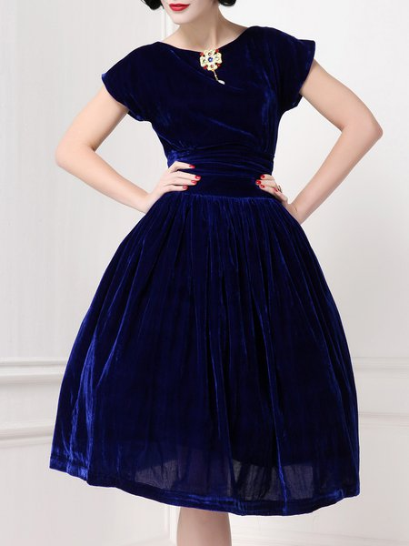 Crew Neck Elegant Short Sleeve Midi Dress