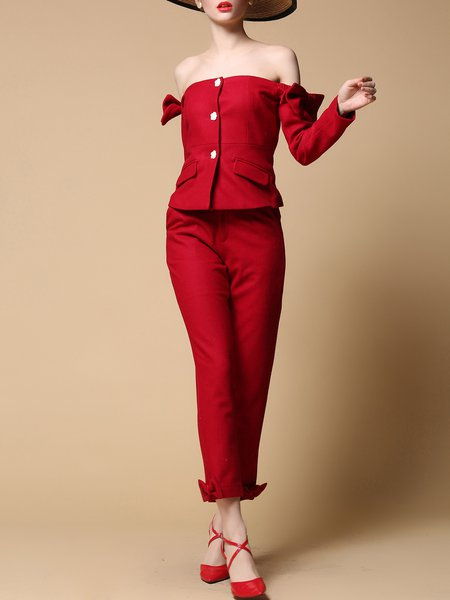 Long Sleeve Two Piece Plain Vintage Jumpsuit