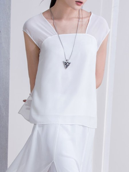 H-line Casual Sleeveless Square Neck Tanks And Cami