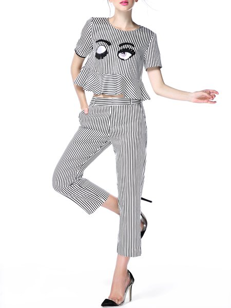 Two Piece Casual Short Sleeve Jumpsuit
