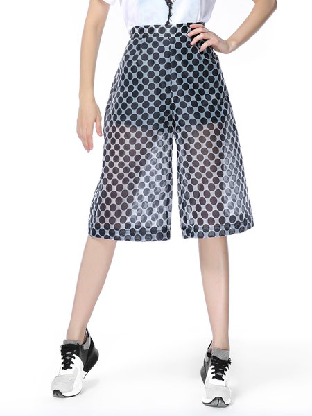 Black Organza Polka Dots Casual Wide Leg Pant