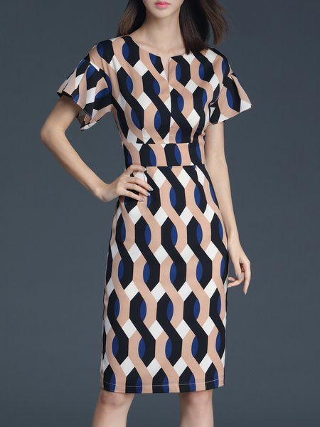 Sheath Geometric Work Short Sleeve Midi Dress