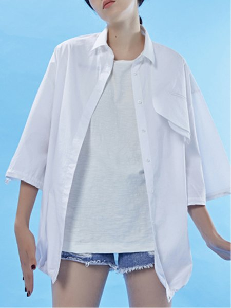 White Casual Shirt Collar Blouse