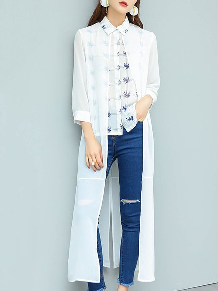 White H-line Elegant Shirt Collar Paneled Longline Blouse