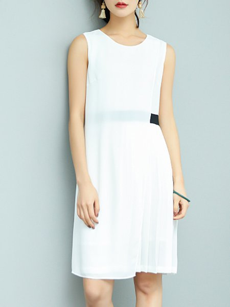 Sleeveless Color-block Sweet A-line Midi Dress