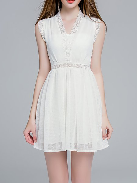 V Neck Sleeveless Girly Mini Dress