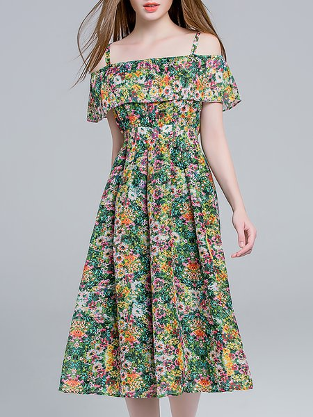 A-line Spaghetti Cold Shoulder Girly Linen Midi Dress