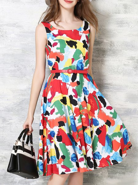 Multicolor Resort Printed Polyester Midi Dress