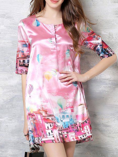 Pink H-line Printed Crew Neck Half Sleeve Mini Dress