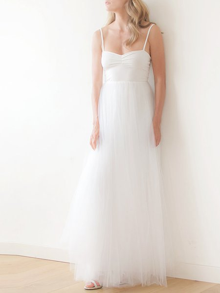 White Evening Plain Spaghetti Tulle Maxi Dress