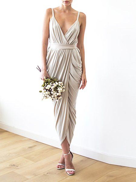 Champagne Evening Slit Maxi Dress