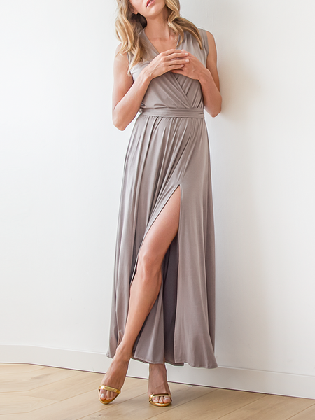 Gray Plain V Neck Sleeveless Slit Maxi Dress