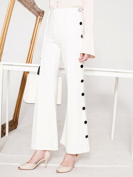 White Plain Elegant Flared Pants