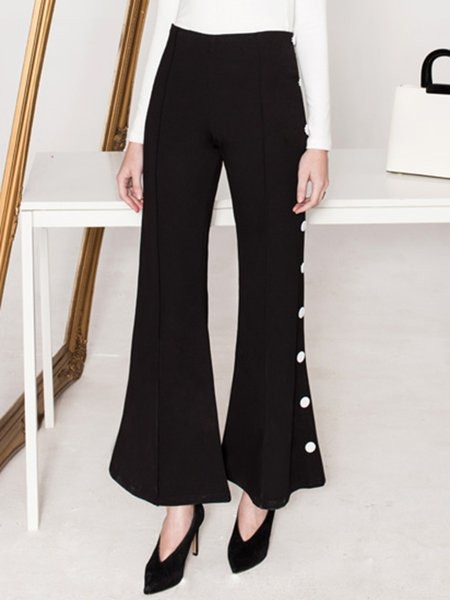 Black Plain Elegant Buttoned Simple Flared Pants
