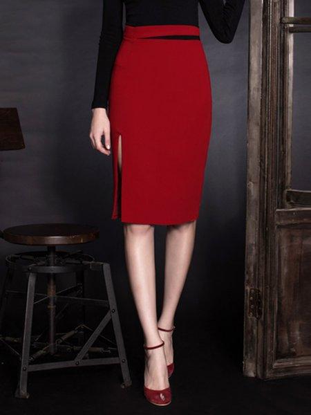 Burgundy Plain Slit Elegant Midi Skirt