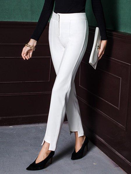 White Cotton-blend Plain Straight Leg Pants
