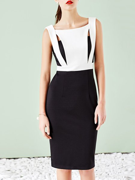 Black Square Neck Sheath Sleeveless Midi Dress
