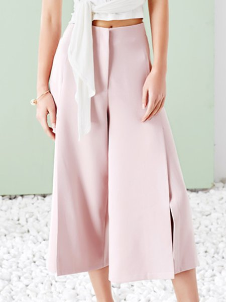 Pink Plain Slit Elegant Polyester Wide Leg Pants