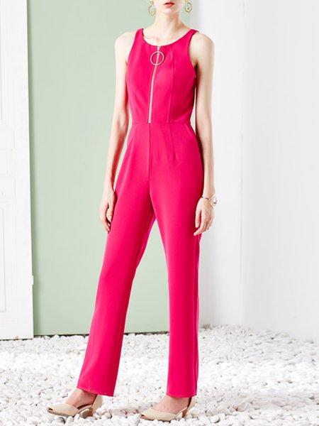 Fuchsia Elegant Plain Jumpsuit