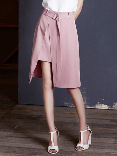 Pink A-line Polyester Midi Skirt