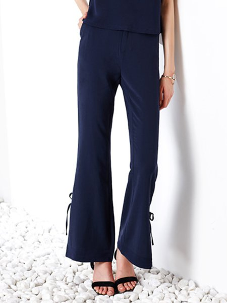 Navy Blue Polyester Slit Elegant Wide Leg Pants