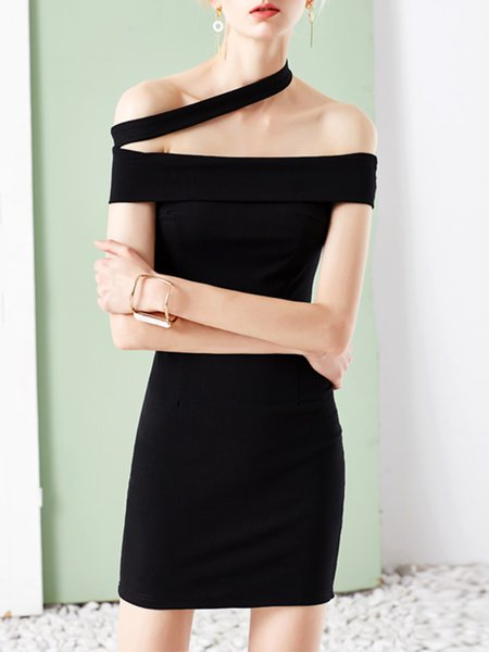 Black Sleeveless Off Shoulder Mini Dress