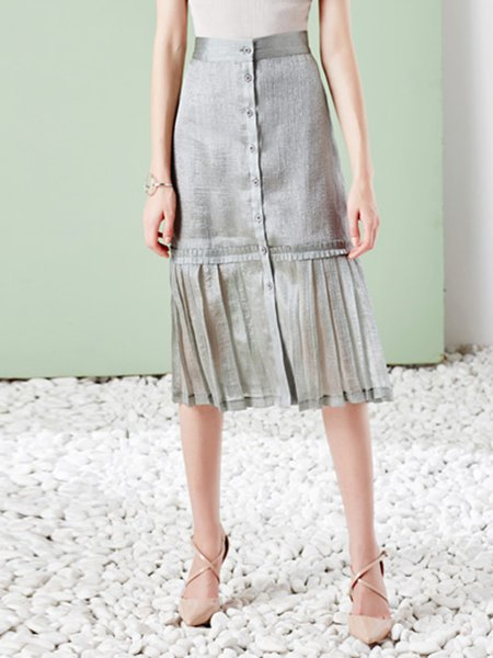 Silver Plain Elegant Pleated Polyester Midi Skirt