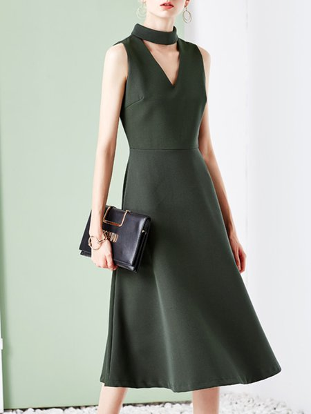 Sleeveless Polyester Plain Vintage Midi Dress