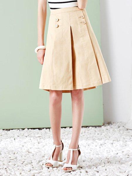 Apricot Plain Elegant Midi Skirt
