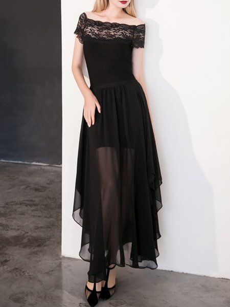 Black Short Sleeve Asymmetric A-line Maxi Dress