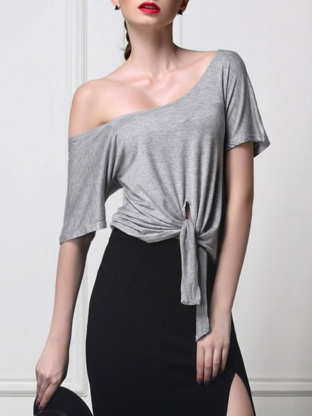 Gray Cotton-blend Ruffled Short Sleeve T-Shirt