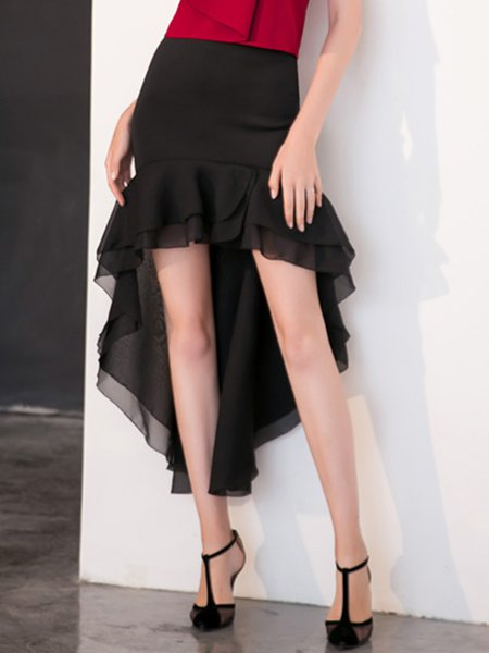 Black Elegant High Low Ruffled Plain Maxi Skirt