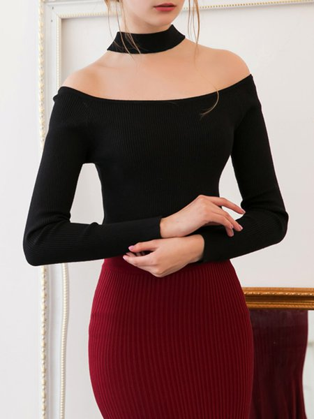 Black Crew Neck Elegant Plain Long Sleeved Top