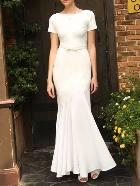 White Polyester Short Sleeve Maxi Dress
